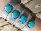 Natural Turquoise & Sterling Silver Chiclet Cuff