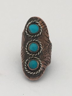 Copper Etched Saddle Ring
